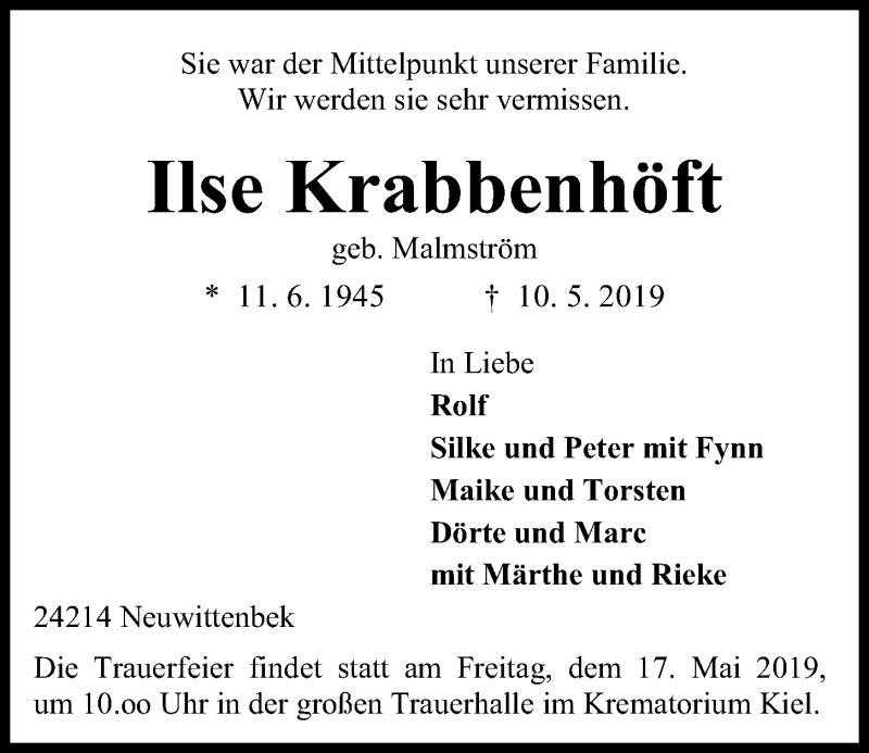 Traueranzeige für Ilse Krabbenhöft vom 15.05.2019 aus Kieler Nachrichten