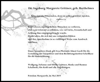 Traueranzeige für Ingeburg Margarete Grittner vom 11.05.2019 aus Märkischen Allgemeine Zeitung