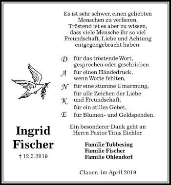 Traueranzeige für Ingrid Fischer vom 27.04.2019 aus Peiner Allgemeine Zeitung