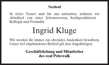 Traueranzeige für Ingrid Kluge vom 20.04.2019 aus Märkischen Allgemeine Zeitung