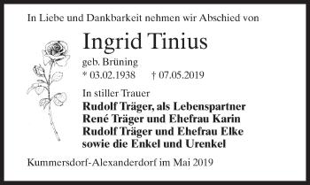 Traueranzeige für Ingrid Tinius vom 15.05.2019 aus Märkischen Allgemeine Zeitung