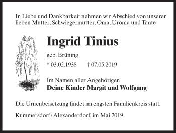 Traueranzeige für Ingrid Tinius vom 11.05.2019 aus Märkischen Allgemeine Zeitung