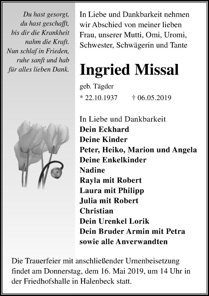 Traueranzeige für Ingried Missal vom 11.05.2019 aus Märkischen Allgemeine Zeitung