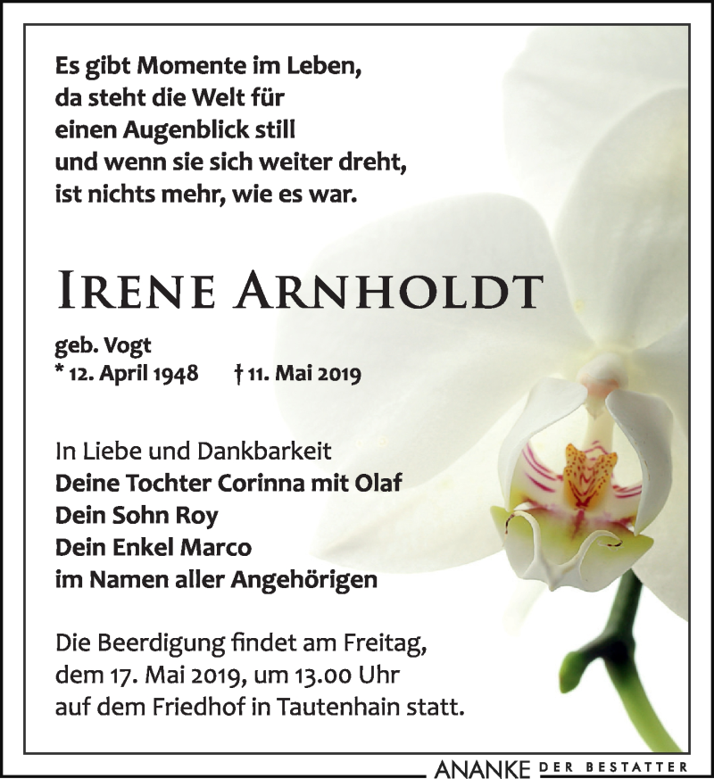 Traueranzeige für Irene Arnholdt vom 15.05.2019 aus Leipziger Volkszeitung