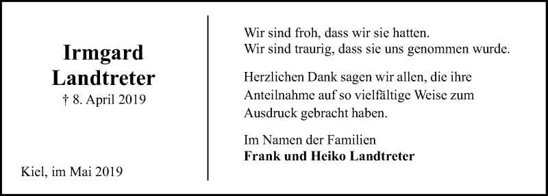 Traueranzeige für Irmgard Landtreter vom 04.05.2019 aus Kieler Nachrichten