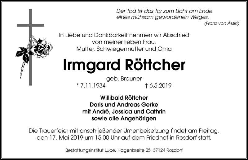 Traueranzeige für Irmgard Röttcher vom 11.05.2019 aus Göttinger Tageblatt