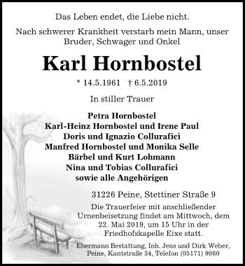 Traueranzeige für Karl Hornbostel vom 11.05.2019 aus Peiner Allgemeine Zeitung