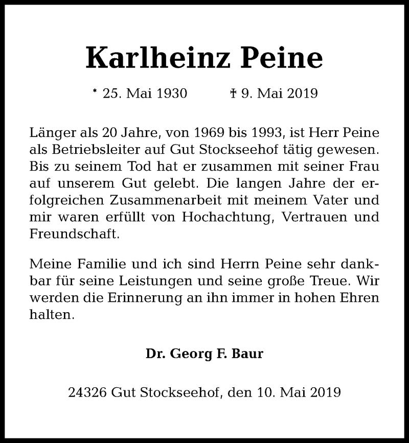 Traueranzeige für Karlheinz Peine vom 14.05.2019 aus Kieler Nachrichten