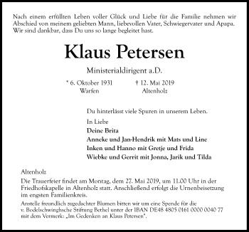 Traueranzeige für Klaus Petersen vom 18.05.2019 aus Kieler Nachrichten