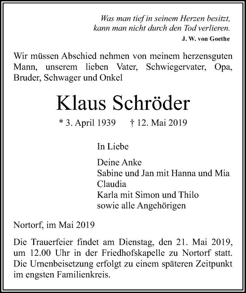 Traueranzeige für Klaus Schröder vom 16.05.2019 aus Kieler Nachrichten