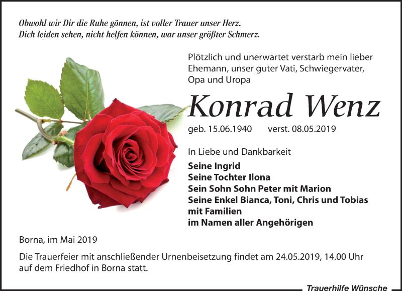 Traueranzeige für Konrad Wenz vom 11.05.2019 aus Leipziger Volkszeitung