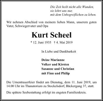 Traueranzeige für Kurt Scheel vom 12.05.2019 aus Lübecker Nachrichten