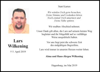 Traueranzeige für Lars Wilkening vom 18.05.2019 aus Hannoversche Allgemeine Zeitung/Neue Presse