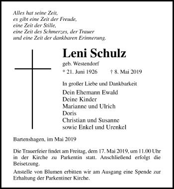 Traueranzeige für Leni Schulz vom 11.05.2019 aus Ostsee-Zeitung GmbH