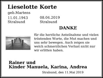 Traueranzeige für Lieselotte Korte vom 11.05.2019 aus Ostsee-Zeitung GmbH