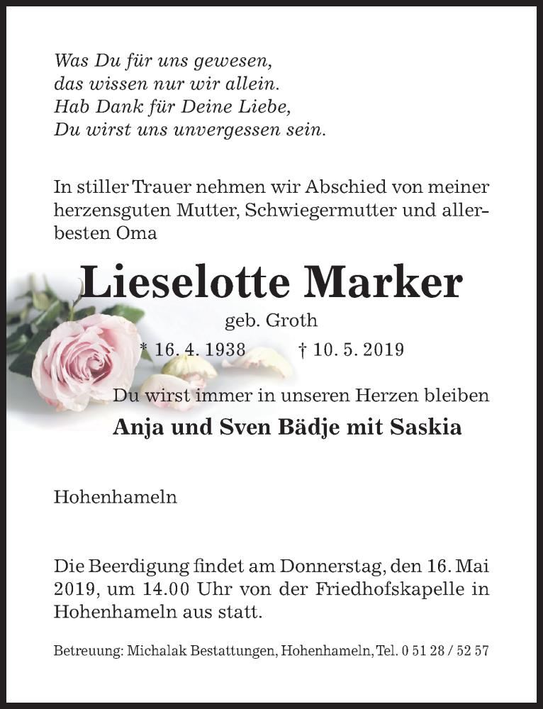 Traueranzeige für Lieselotte Marker vom 14.05.2019 aus Peiner Allgemeine Zeitung