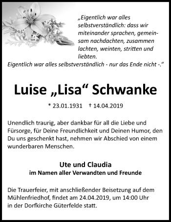 Traueranzeige für Luise Schwanke vom 20.04.2019 aus Märkischen Allgemeine Zeitung