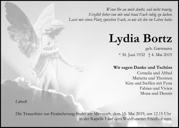 Traueranzeige für Lydia Bortz vom 12.05.2019 aus Lübecker Nachrichten
