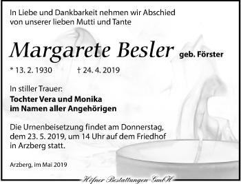 Traueranzeige für Margarete Besler vom 11.05.2019 aus Torgauer Zeitung