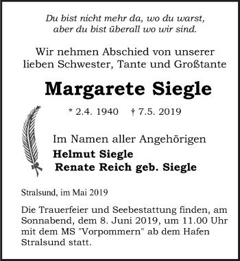 Traueranzeige für Margarete Siegle vom 11.05.2019 aus Ostsee-Zeitung GmbH