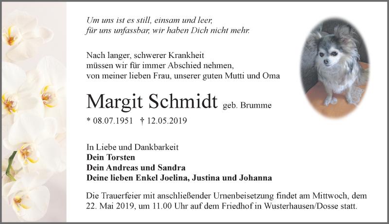 Traueranzeige für Margit Schmidt vom 15.05.2019 aus Märkischen Allgemeine Zeitung