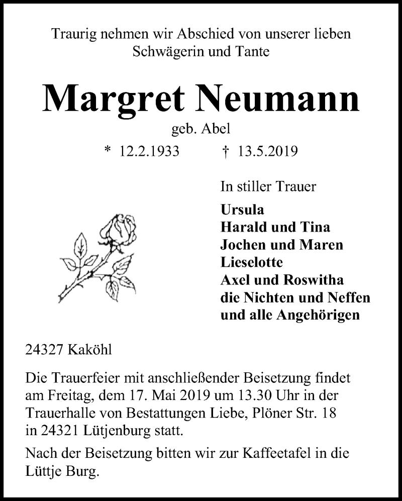 Traueranzeige für Margret Neumann vom 15.05.2019 aus Kieler Nachrichten