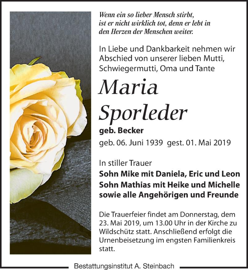 Traueranzeige für Maria Sporleder vom 04.05.2019 aus Leipziger Volkszeitung