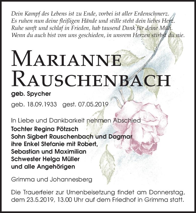 Traueranzeige für Marianne Rauschenbach vom 11.05.2019 aus Leipziger Volkszeitung
