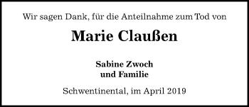 Traueranzeige für Marie Claußen vom 27.04.2019 aus Kieler Nachrichten