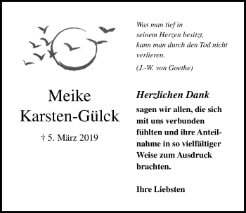 Traueranzeige für Meike Karsten-Gülck vom 05.05.2019 aus Lübecker Nachrichten