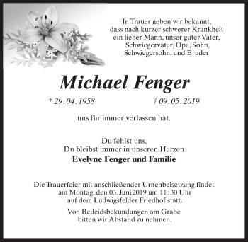 Traueranzeige für Michael Fenger vom 15.05.2019 aus Märkischen Allgemeine Zeitung