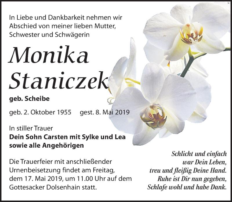 Traueranzeige für Monika Staniczek vom 11.05.2019 aus Leipziger Volkszeitung