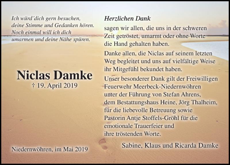 Traueranzeige für Niclas Damke vom 11.05.2019 aus Schaumburger Nachrichten