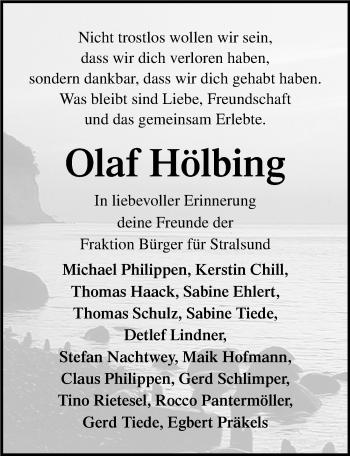 Traueranzeige für Olaf Hölbing vom 18.05.2019 aus Ostsee-Zeitung GmbH