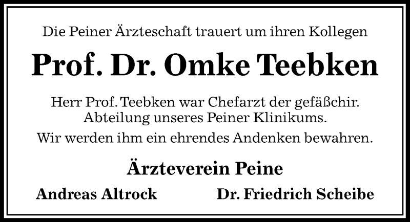 Traueranzeige für Omke Teebken vom 27.04.2019 aus Peiner Allgemeine Zeitung
