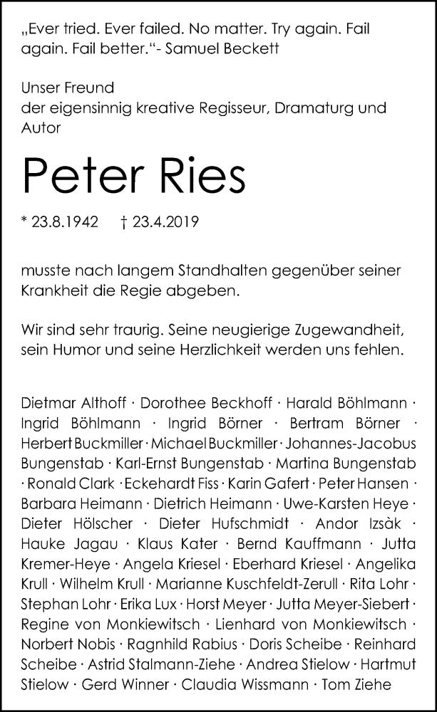 Traueranzeige für Peter Ries vom 02.05.2019 aus Hannoversche Allgemeine Zeitung/Neue Presse