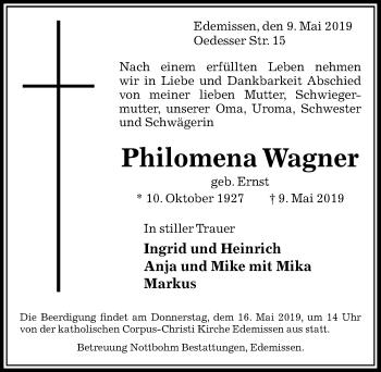 Traueranzeige für PhilomenaWagner Ernst vom 11.05.2019 aus Peiner Allgemeine Zeitung