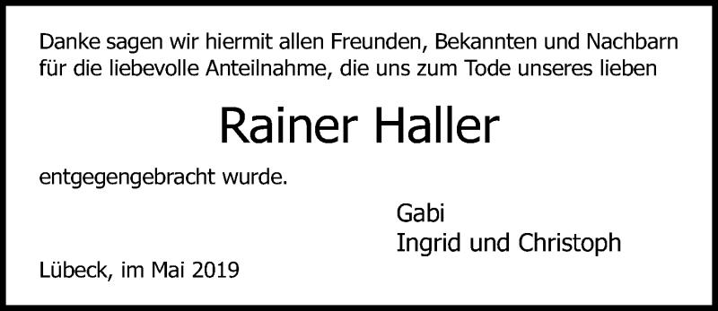 Traueranzeige für Rainer Haller vom 05.05.2019 aus Lübecker Nachrichten