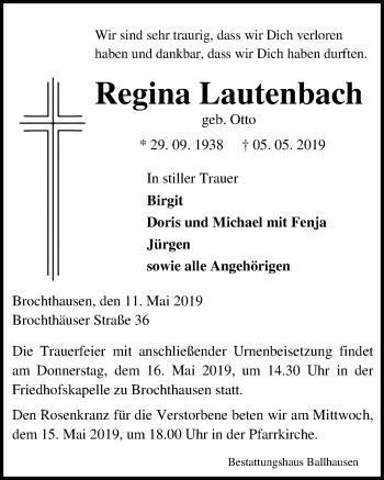 Traueranzeige für Regina Lautenbach vom 11.05.2019 aus Eichsfelder Tageblatt
