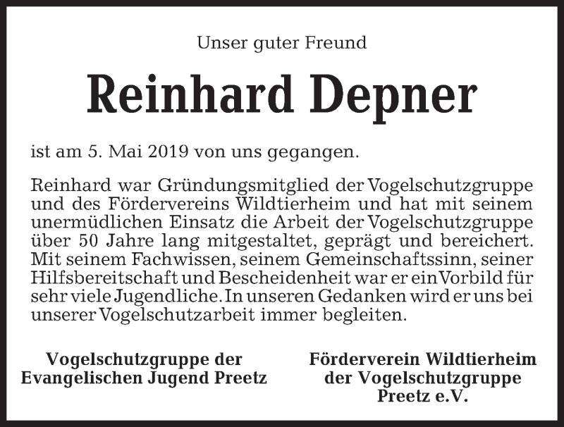 Traueranzeige für Reinhard Depner vom 11.05.2019 aus Kieler Nachrichten