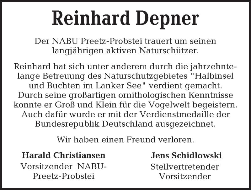 Traueranzeige für Reinhard Depner vom 08.05.2019 aus Kieler Nachrichten