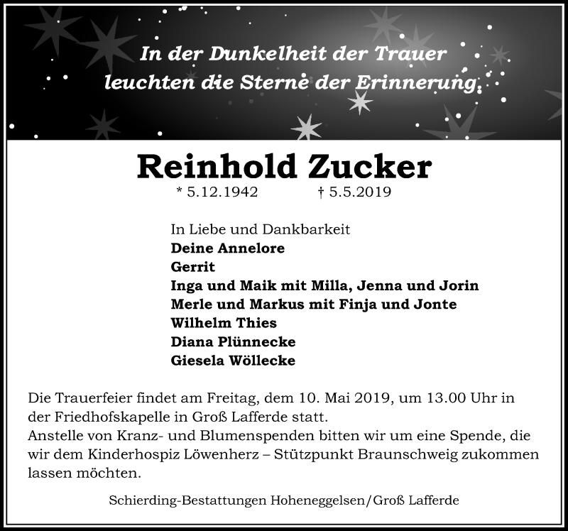 Traueranzeige für Reinhold Zucker vom 08.05.2019 aus Peiner Allgemeine Zeitung