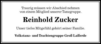 Traueranzeige für Reinhold Zucker vom 09.05.2019 aus Peiner Allgemeine Zeitung