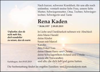 Traueranzeige für Rena Kaden vom 11.05.2019 aus Ostsee-Zeitung GmbH