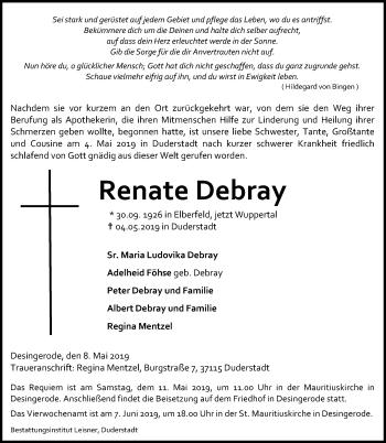 Traueranzeige für Renate Debray vom 08.05.2019 aus Eichsfelder Tageblatt
