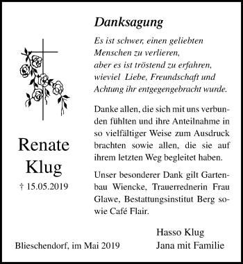 Traueranzeige für Renate Klug vom 25.05.2019 aus Ostsee-Zeitung GmbH