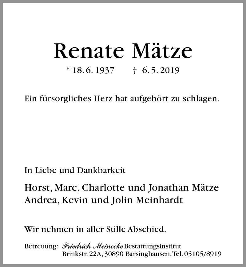 Traueranzeige für Renate Mätze vom 11.05.2019 aus Hannoversche Allgemeine Zeitung/Neue Presse