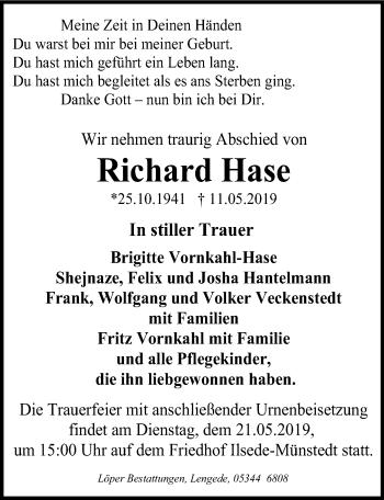 Traueranzeige für Richard Hase vom 15.05.2019 aus Peiner Allgemeine Zeitung