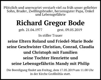 Traueranzeige für Richard Gregor Bode vom 14.05.2019 aus Leipziger Volkszeitung