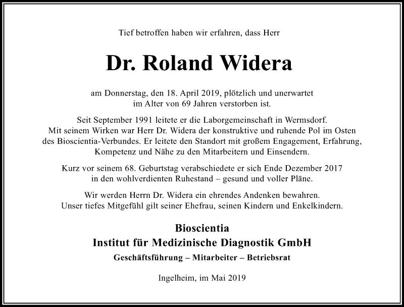 Traueranzeige für Roland Widera vom 04.05.2019 aus Torgauer Zeitung